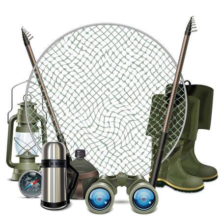 redes pesca: Vector Pesca Marco aislado en fondo blanco
