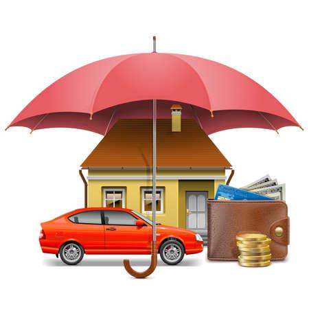 seguros: Vector Concepto de seguro aislado en el fondo blanco