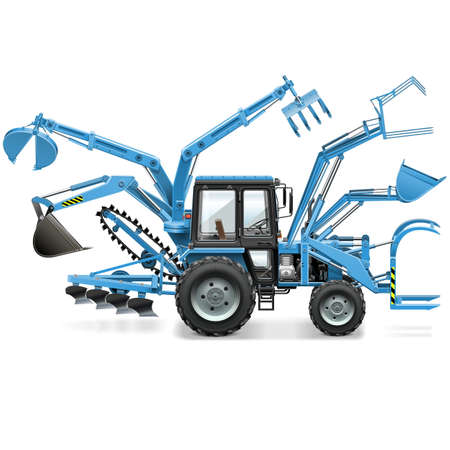dozer: Vector Multi Tractor isolated on white background