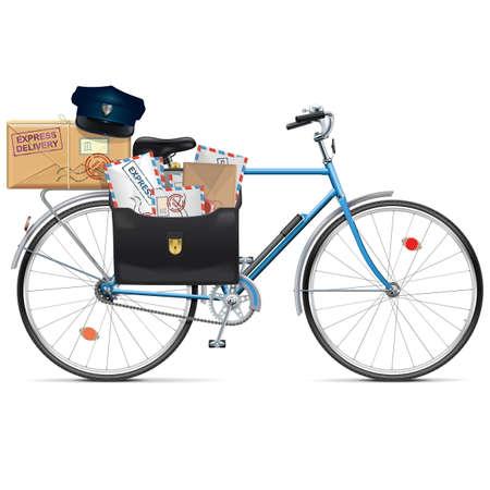 白い背景に分離されたベクトル郵便自転車  イラスト・ベクター素材