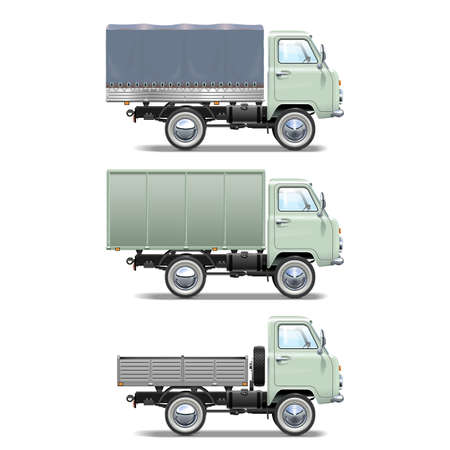 chromium plated: Vector Retro Light Truck isolated on white background