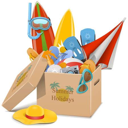 vacances d �t�: Vecteur d'�t� Vacances Concept isol� sur fond blanc Illustration
