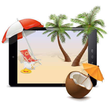 spa resort: Vector Tablet PC with Tropical Resort isolated on white background