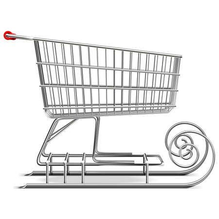 shopping carriage: Vector Supermarket Sled isolated on white background