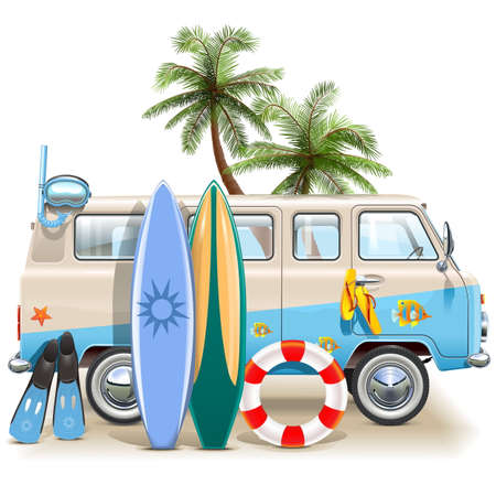 minivan: Vector Surfing Weekend Concept isolated on white background