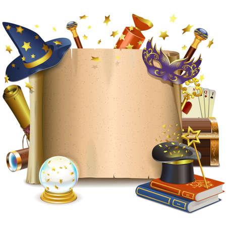 magie: Cadre Vector magique isolé sur fond blanc