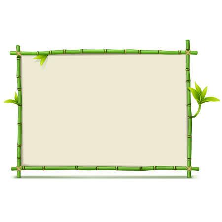 벡터 녹색 대나무 프레임 흰색 배경에 고립