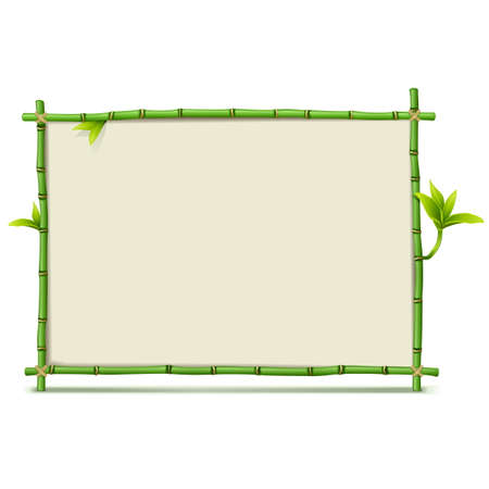 Vector Green Bamboo Frame isolated on white background Illustration