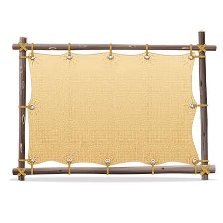 Vector marco de madera con el lienzo aislado en fondo blanco Foto de archivo - 40983286