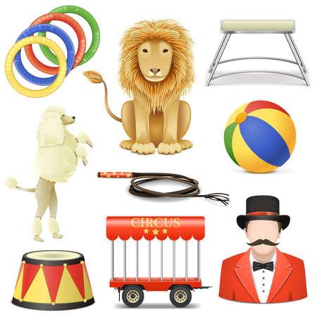 circo: Vector Circus Icons Set 3 aislados sobre fondo blanco Vectores