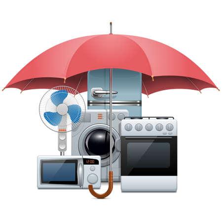 gospodarstwo domowe: Wektor Sprzęt AGD Ochrona na białym tle Ilustracja