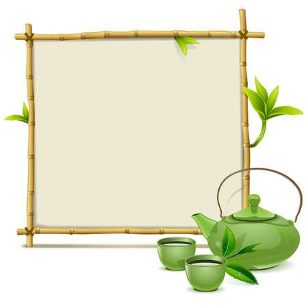 bambu: Vector del marco de bambú con el té verde aislado en el fondo blanco