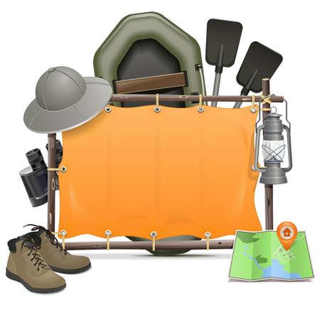 Vector Camping Cornice isolato su sfondo bianco Archivio Fotografico - 41621534