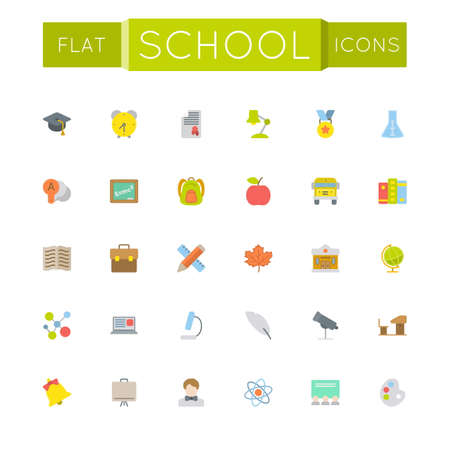 grades: Vector Flat School Icons isolated on white background Illustration