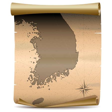 archipelago: Vector Korea Vintage Map isolated on white background