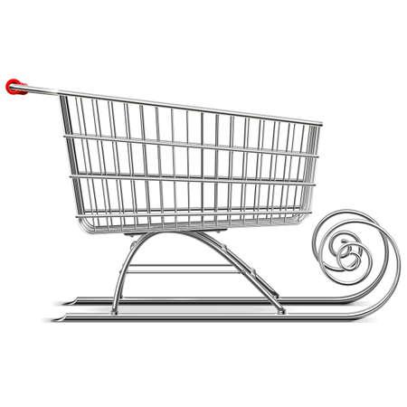 Vecteur Supermarché Sleigh isolé sur fond blanc Banque d'images - 41798294