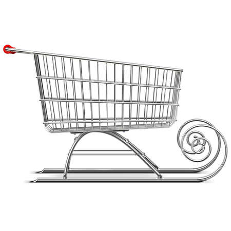 santa claus: Vector Supermercado trineo aislado en fondo blanco