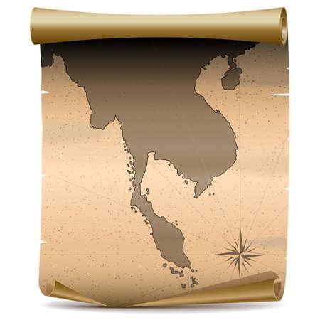 indochina peninsula: Vector Thailand Vintage Map isolated on white background Illustration
