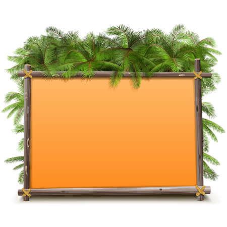 selva: Vector del marco de la selva aisladas sobre fondo blanco