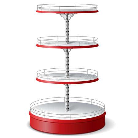 sell: Vector Round Supermarket Shelf isolated on white background
