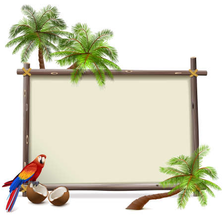 tropics: Vector Tropics Frame isolated on white background