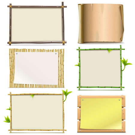 bamboo frame: Vector Boards isolated on white background