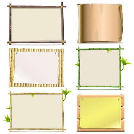 bambou: Vector conseils isolé sur fond blanc