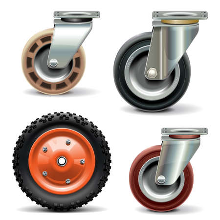 swivel: Vector Trolley Wheel isolated on white background