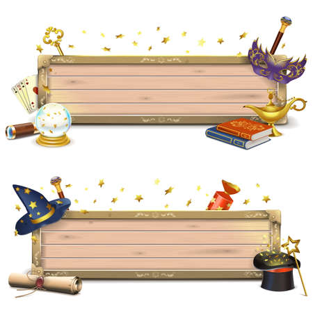 aladdin magic lamp: Vector Magic Signboards isolated on white background
