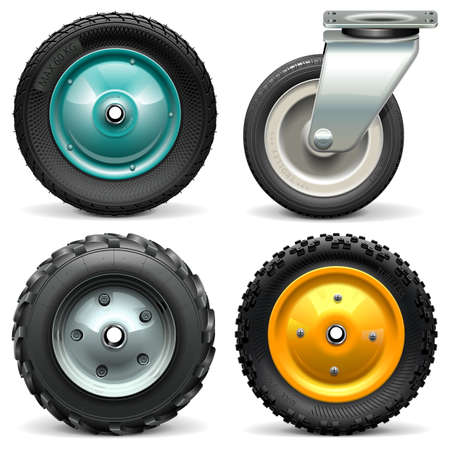 Vector Kruiwagen Wheel op een witte achtergrond Stockfoto - 42565821