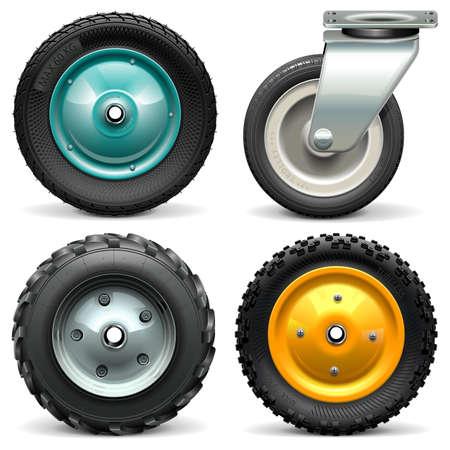 Vector Wheelbarrow Wheel isolated on white background Illustration