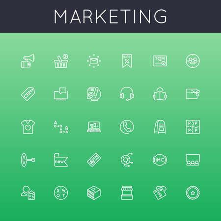 iconos: Vector Marketing L�nea iconos aislados sobre fondo verde