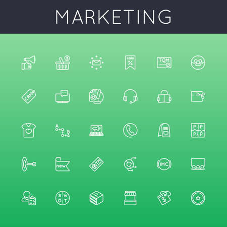 business marketing: Vector Marketing Line Icons isolated on green background