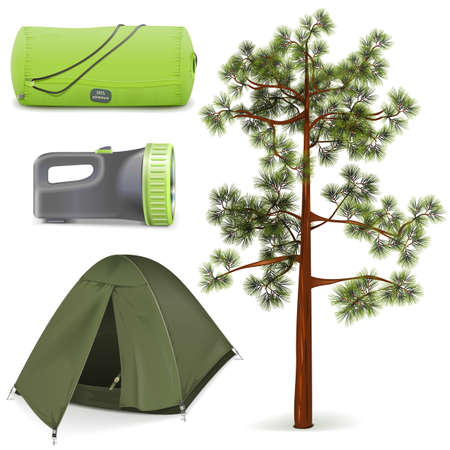 summer season: Vector Camping Icons Set isolated on white background