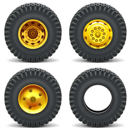 wheel loader: Vector Construction Machines Wheels isolated on white background