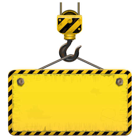 warning attention sign: Vector Old Building Frame isolated on white background Illustration