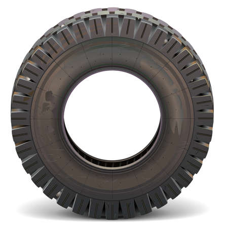 car tire: Vector Old Truck Tire isolated on white background