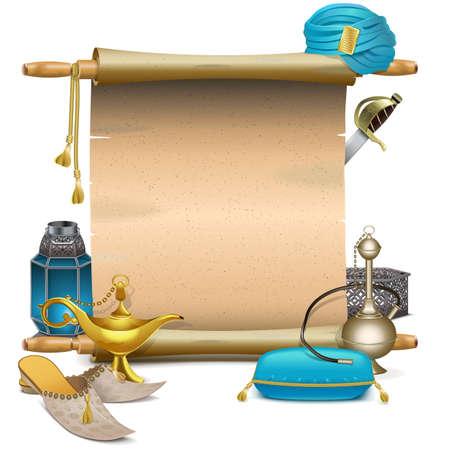 Vector Scroll avec accessoires Orient isolé sur fond blanc Banque d'images - 43178930