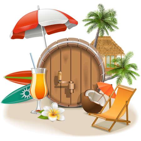 Vector Beach Bar op een witte achtergrond Stock Illustratie