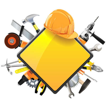 construction equipment: Vector Construction Sign with Tools isolated on white background