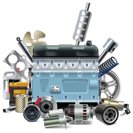 repuestos de carros: Vector Motor con piezas de repuesto de coches aislados sobre fondo blanco