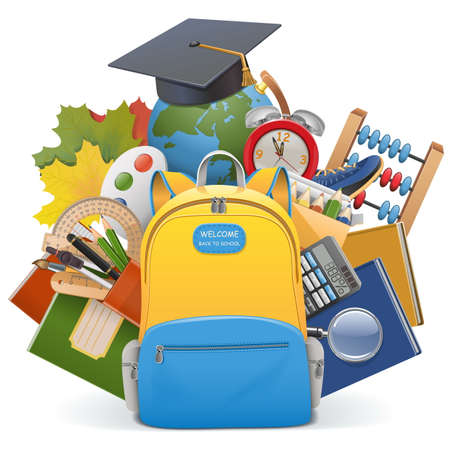 Vector School Concept with Backpack isolated on white background Ilustracja