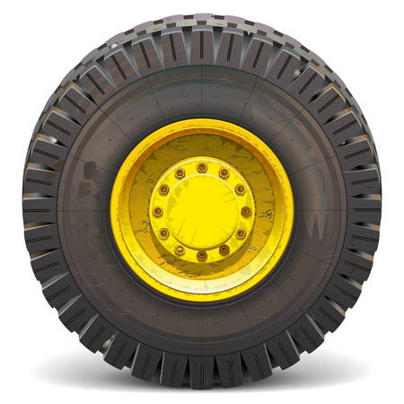 road grader: Vector Old Wheel isolated on white background
