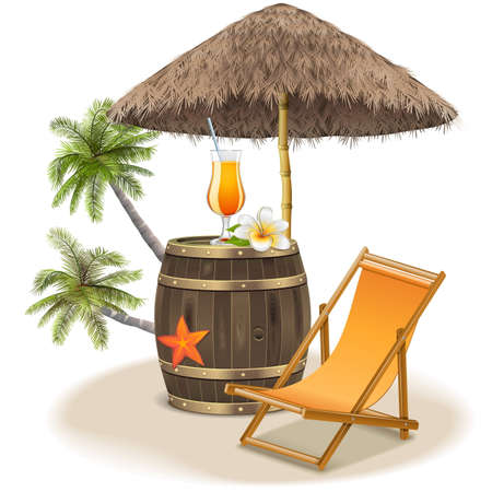 beach: Vector Beach Bar Concept isolated on white background Illustration