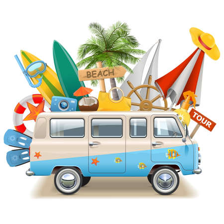 trip: Vector Beach Concept with Bus isolated on white background