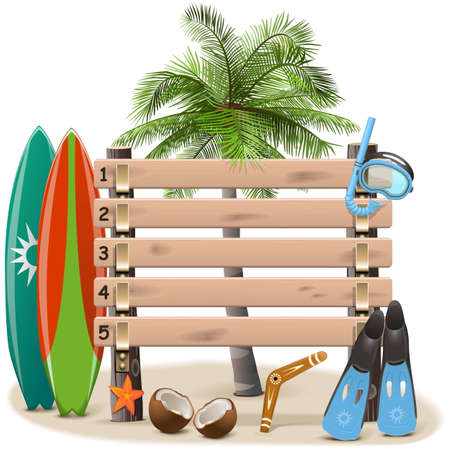 coconut tree: Vector Beach Rating Scoreboard isolated on white background