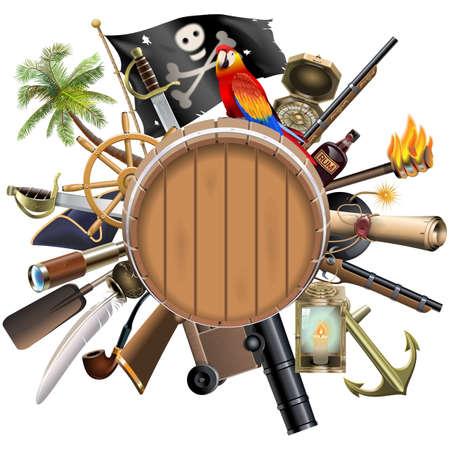 pirata: Vector Pirata Concepto con el barril aislado en fondo blanco Vectores