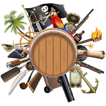 cocked hat: Vector Pirate Concept with Barrel isolated on white background Illustration