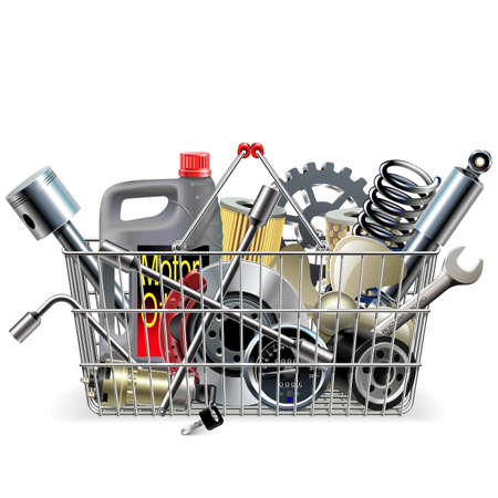 spare car: Vector Basket with Car Spares isolated on white background