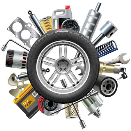 maintenance: Vector Car Spares Concept with Wheel isolated on white background